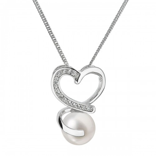 Perlový náhrdelník s řetízkem z pravých říčních perel bílý 22012.1
