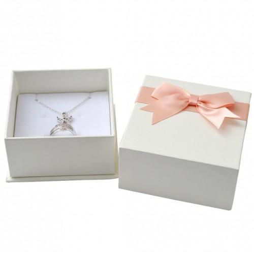 Dárková krabička na soupravu, bílá s růžovou mašlí