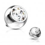 Ozdobný kulička s kamínem k mikrodermálu, průměr 5 mm, čirá barva [0]