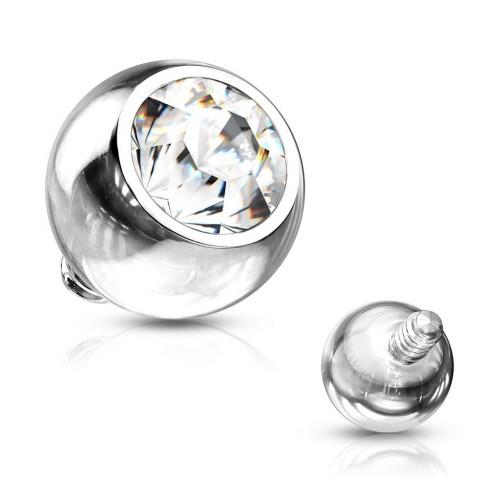 Ozdobný kulička s kamínem k mikrodermálu, průměr 5 mm, čirá barva