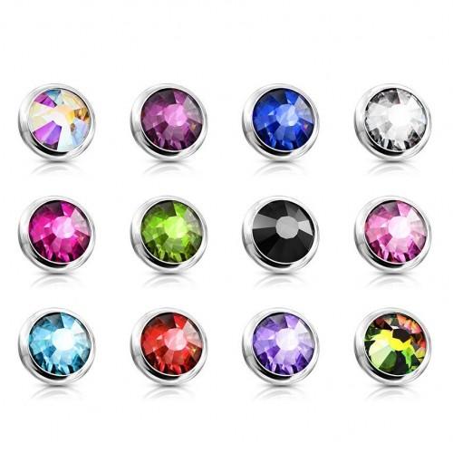 Ozdobný kamínek k mikrodermálu, průměr 4 mm, (tmavě fialová)