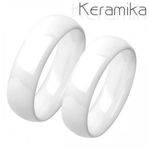 Keramické snubní prsteny bílé - pár