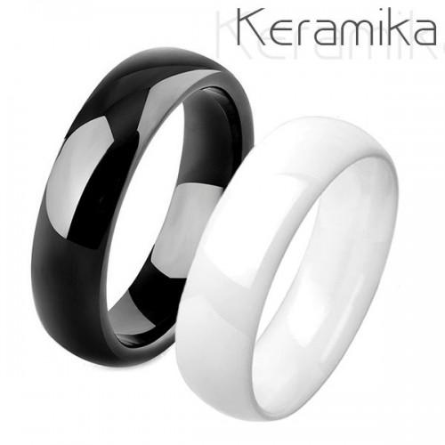 Keramické snubní prsteny černý a bílý - pár