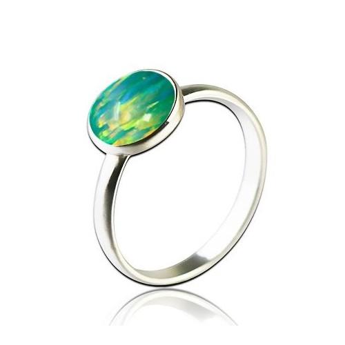 Stříbrný prsten s opálem 8 mm (1,74 g, 56)