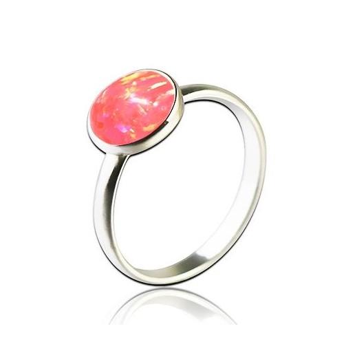 Stříbrný prsten s opálem 8 mm (1,42 g, 48)