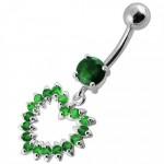 Stříbrný piercing do pupíku - srdce (tmavě zelená, 5 mm) [6]