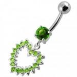 Stříbrný piercing do pupíku - srdce (tmavě zelená, 5 mm) [8]