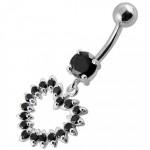 Stříbrný piercing do pupíku - srdce (tmavě zelená, 5 mm) [9]