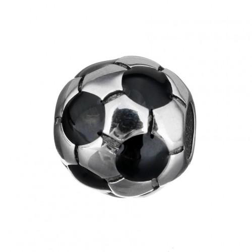 Navlékací ocelový přívěsek korálek - fotbalový míč