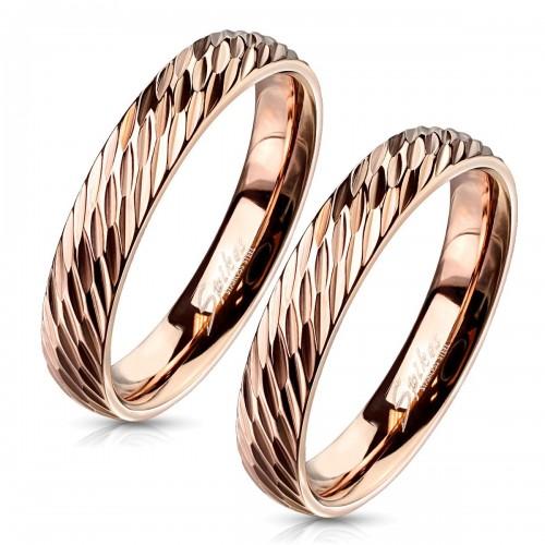 OPR1833 Zlacené ocelové snubní prsteny - pár