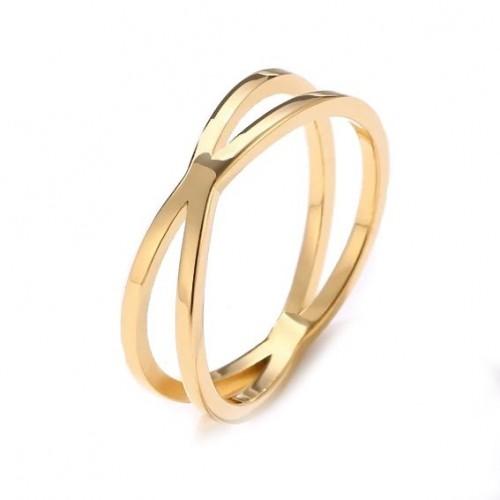 Překřížený ocelový prsten, vel. 50
