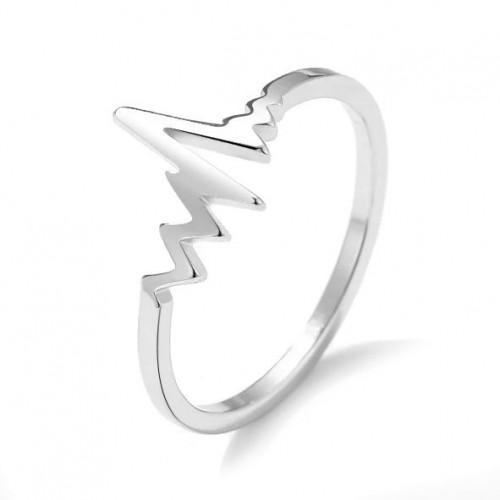 Ocelový prsten heartbeat (50)