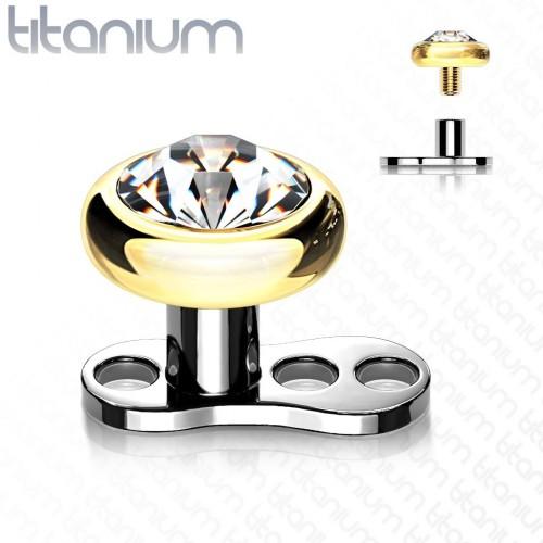 Kompletní microdermal piercing 1,2 mm -  kamínek 4 mm