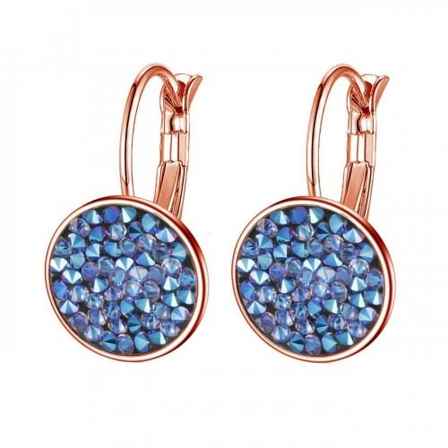 Zlacené náušnice s krystaly Crystals from Swarovski® BLUE SHIMMER