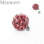 Ozdobná kulička k dermálu TITAN, závit 1,6 mm, barva: růžová (4 mm) [0]