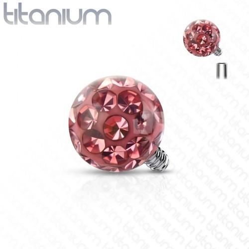 Ozdobná kulička k dermálu TITAN, závit 1,6 mm, barva: růžová (4 mm)