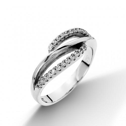 Stříbrný prsten se zirkony (3,05 g, 58)