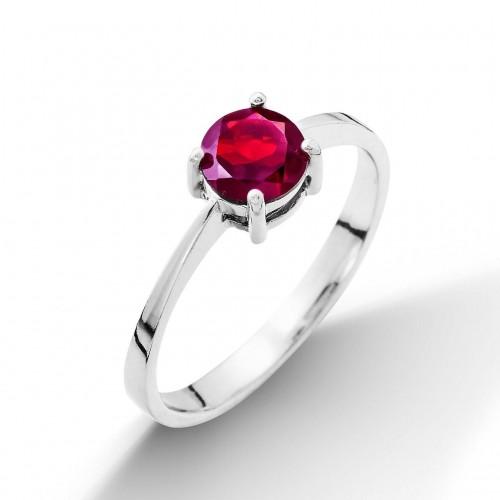 Stříbrný prsten s rubínem 6 mm