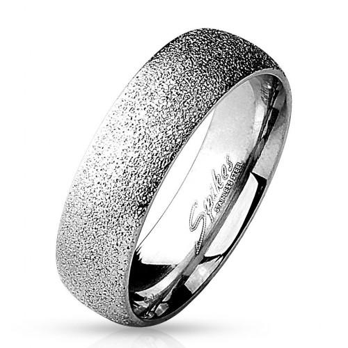 Ocelový prsten pískovaný, šíře 6 mm (49)