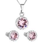 Sada šperků s krystaly Swarovski náušnice, řetízek a přívěsek růžové kulaté 39352.3 light rose [0]