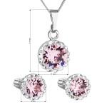 Sada šperků s krystaly Swarovski náušnice, řetízek a přívěsek růžové kulaté 39352.3 light rose [1]