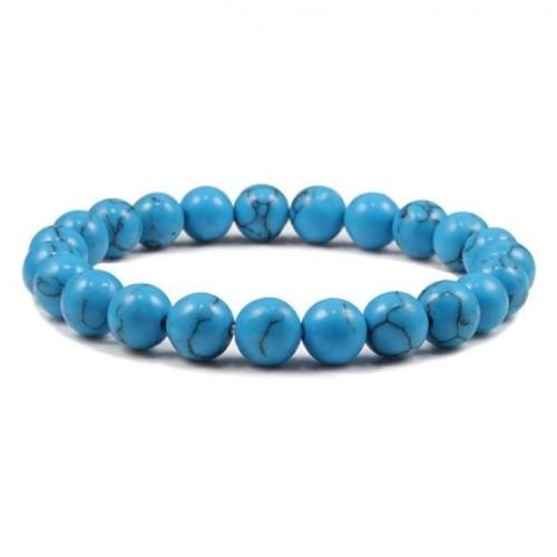 Korálkový náramek přírodní modrý kámen