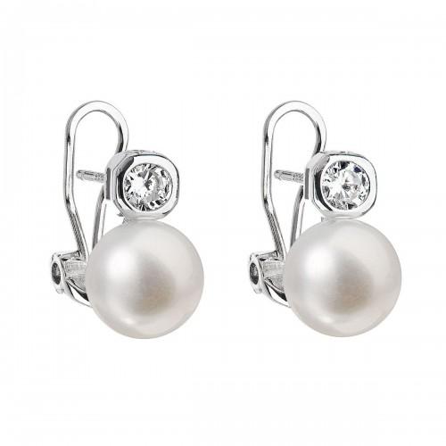 Stříbrné náušnice visací s bílou říční perlou 21016.1