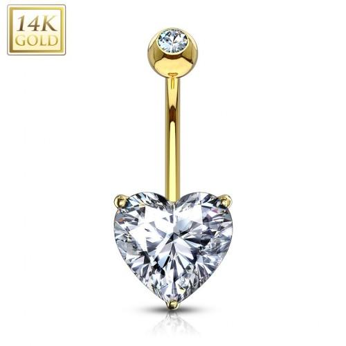 Zlatý piercing do pupíku - srdíčko 8 mm, čirý zirkon, Au 585/1000