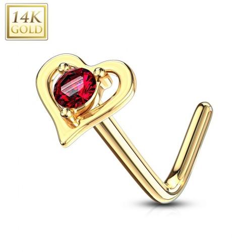 Zlatý piercing do nosu srdíčko - červený zirkon, Au 585/1000