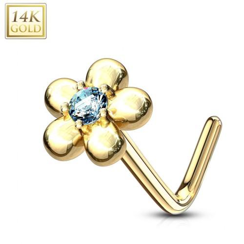 Zlatý piercing do nosu kytička - tyrkysový zirkon, Au 585/1000
