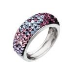 Stříbrný prsten s krystaly Swarovski mix barev fialová 35027.3 [0]