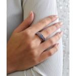 Stříbrný prsten s krystaly Swarovski mix barev fialová 35027.3 [1]