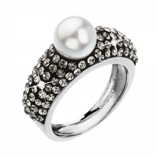 Stříbrný prsten s krystaly Swarovski bílá šedá 35032.3