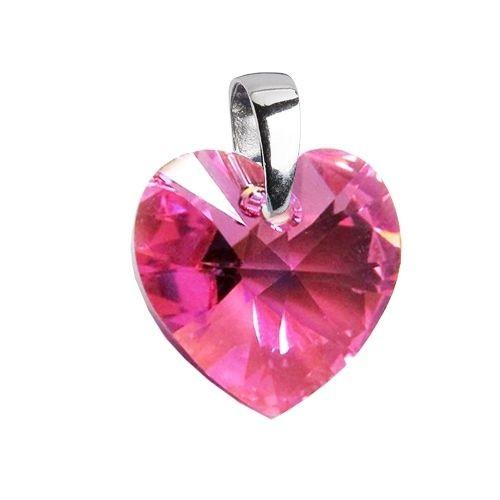 Stříbrný přívěsek srdce z dílny Crystals from Swarovski® Pink