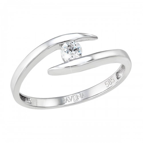 Zlatý prsten 85010.1 bílé zlato s briliantem