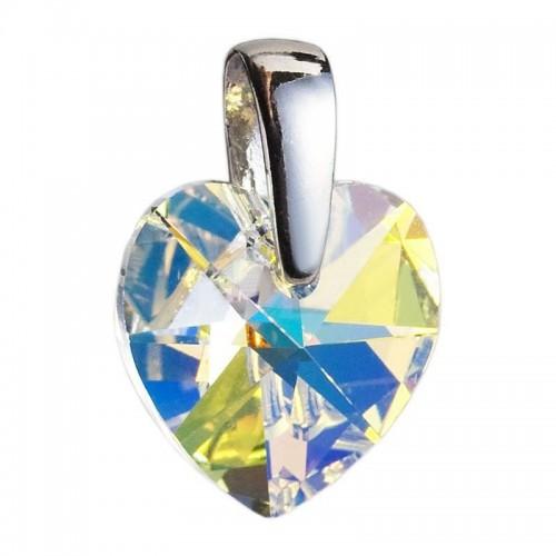 Stříbrný přívěsek srdce z dílny Crystals from Swarovski®, Crystal AB