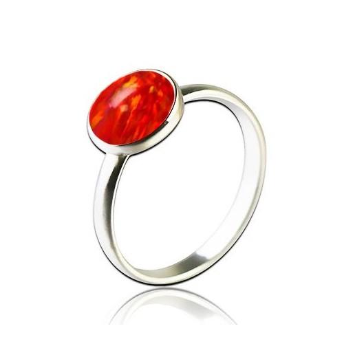 Stříbrný prsten s opálem (1,45 g, 48)