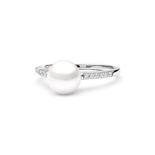 Stříbrný prsten s bílou perlou a zirkony (2,26 g, 58)