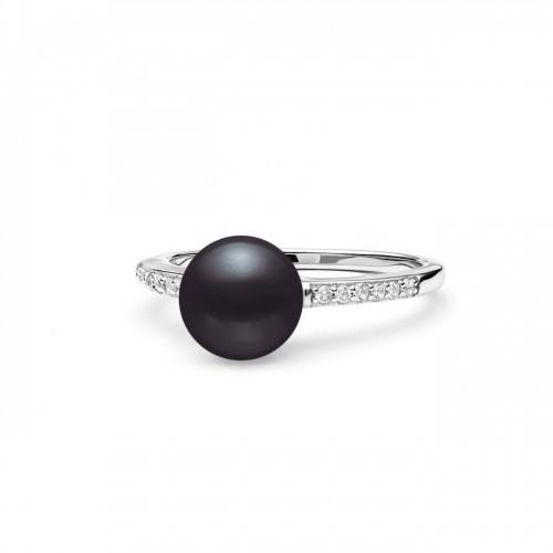Stříbrný prsten s černou perlou a zirkony (2,37 g, 53)