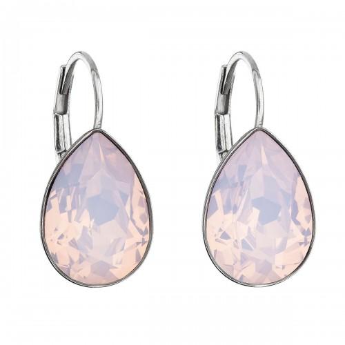 Stříbrné náušnice visací s krystaly Swarovski růžová slza 31231.7 rose water opal