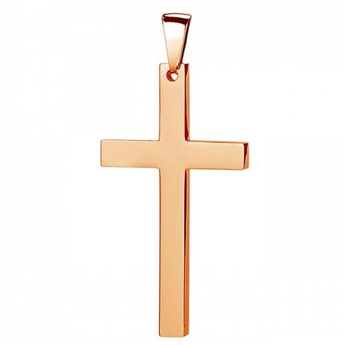 Zlacený ocelový přívěsek - kříž 17 x 32 mm