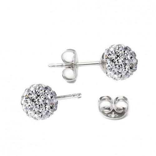 Stříbrné náušnice kuličky Crystals from Swarovski® Crystal