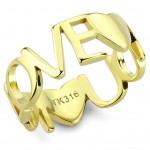 Zlacený ocelový prsten LOVE (52) [0]