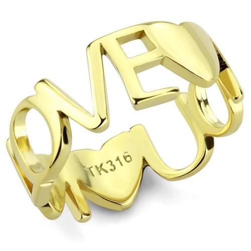 Zlacený ocelový prsten LOVE (52)