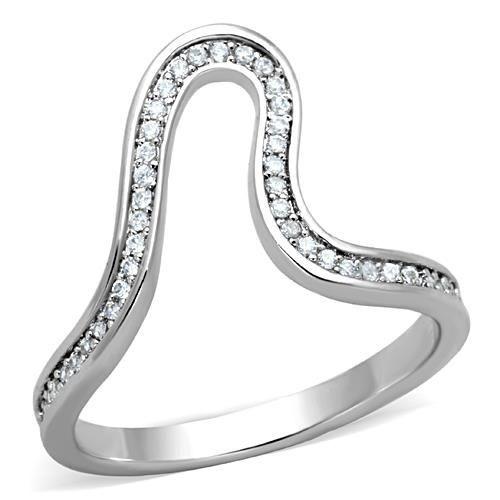 Asymetrický prsten zdobený zirkony, vel. 52