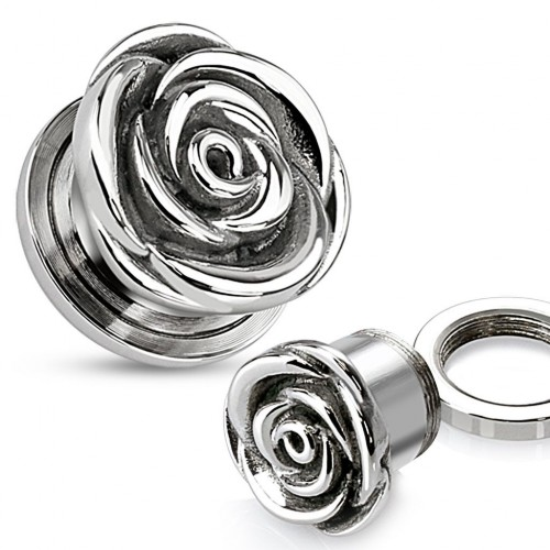 Ocelový plug do ucha květ růže HWPSZ63