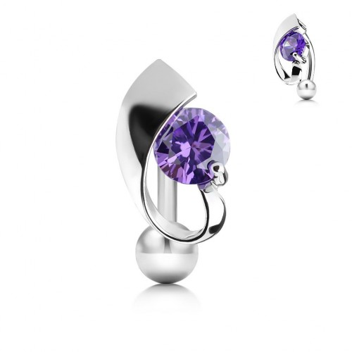 Obrácený piercing do pupíku s fialovým kamínkem