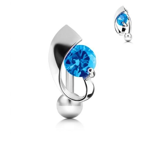 Obrácený piercing do pupíku s modrým kamínkem