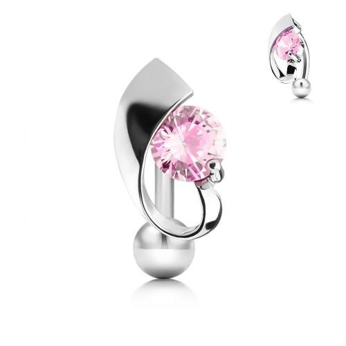 Obrácený piercing do pupíku s růžovým kamínkem