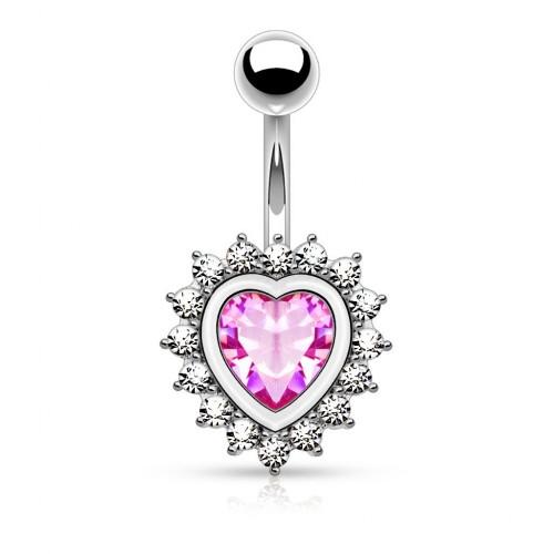 Piercing do pupíku srdce HWN01085 růžové